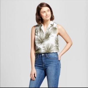 Womens A New Day Palm Print Tank Top - Size XS